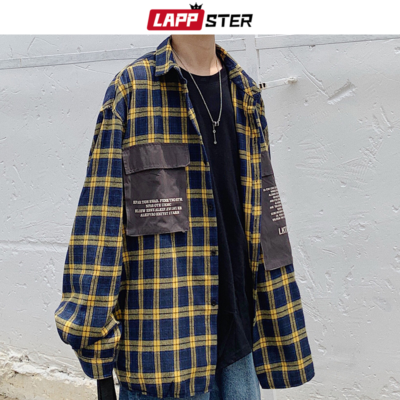 LAPPSTER Men Streetwear Harajuku Plaid Shirts Pockets 2020 Hip Hop Men Shirt Long Sleeve Couple Black Button Up Oversized Shirt