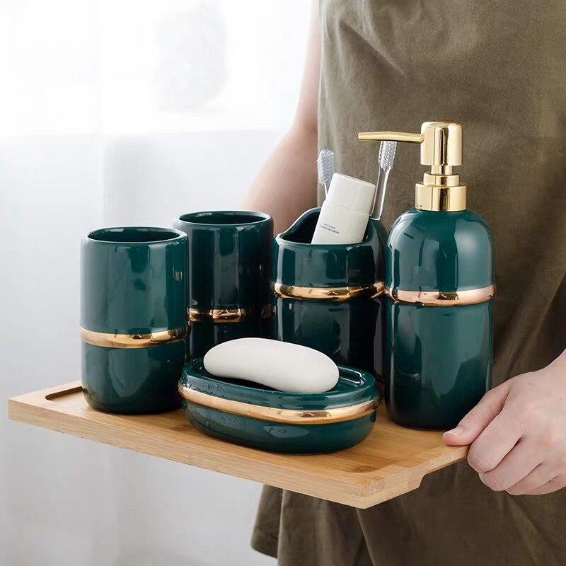 5pcs Luxury Green Bathroom Accessories