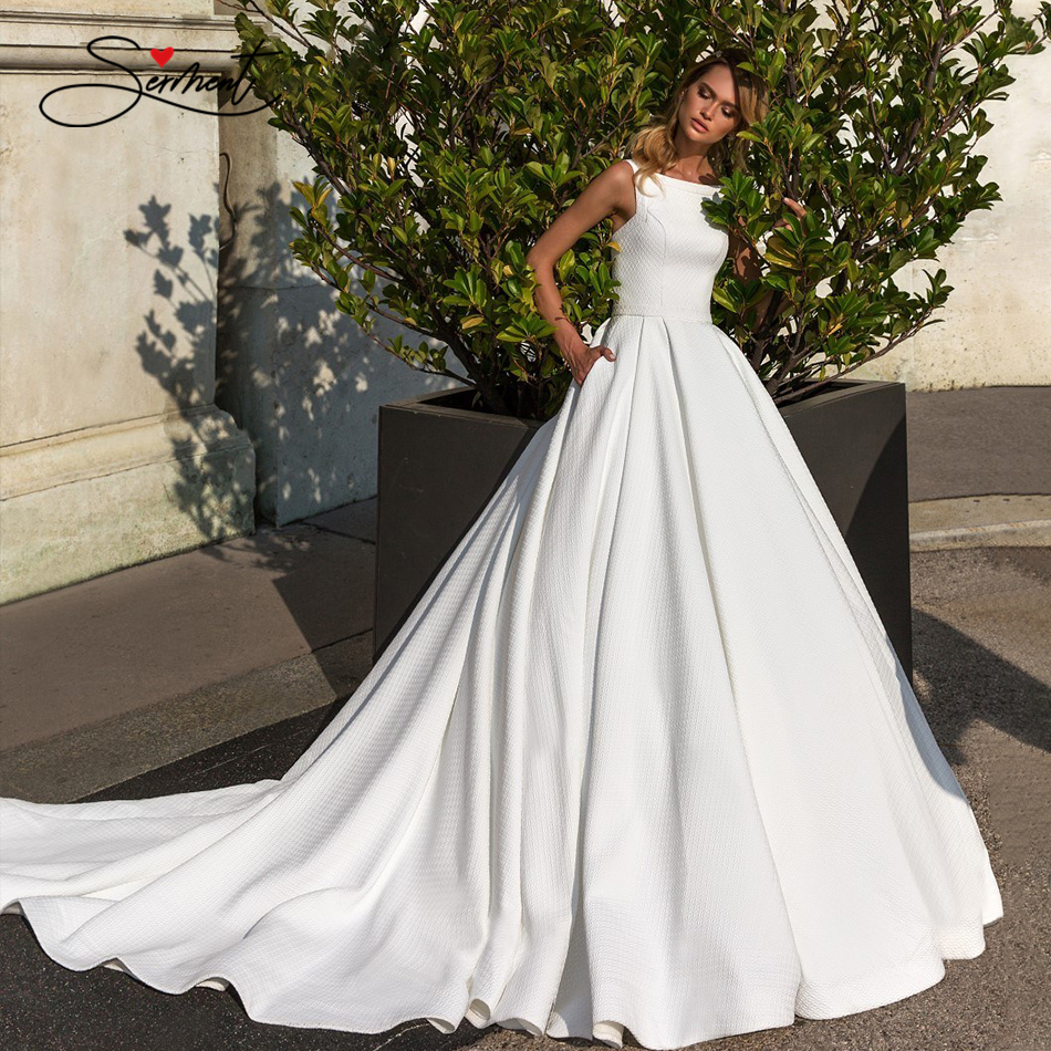 OLLYMURS 2020 Sleeveless O-Neck Simple Satin Wedding Dress Wide Shoulder Strap  Fashion Bride Support Tailor-made