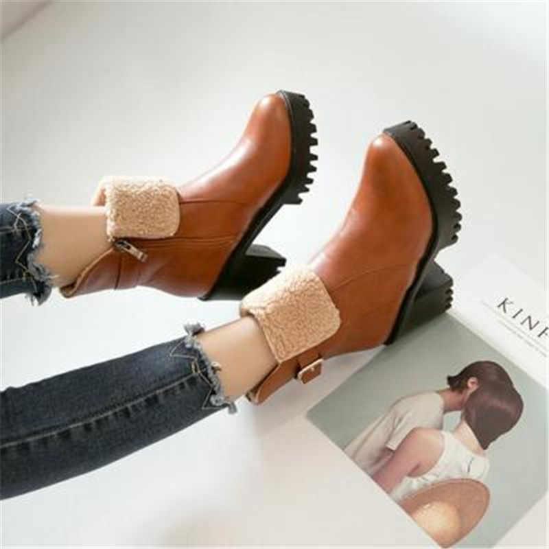 2019 г., новые ботинки martin на осень-зиму очень высокий каблук, бархатные кожаные ботинки женская обувь на молнии сбоку с ремешком и пряжкой