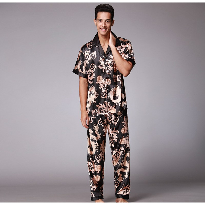 Men's Stain Silk Pajama Set T-shirt&Long Pants Elastic Waist Men Pajamas Sexy Modern Style Soft Leisure Home Clothing Loungewear