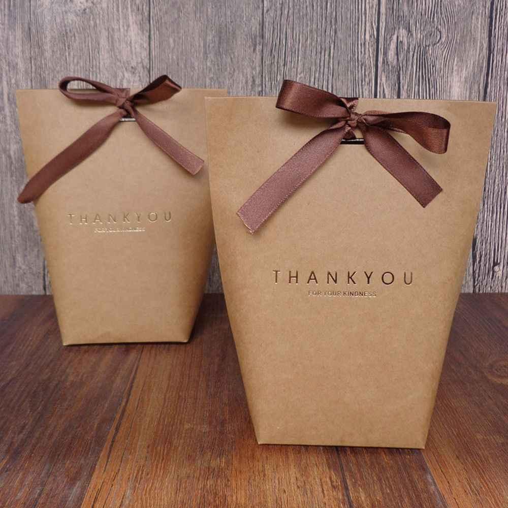 1 pcs ขอบคุณกระดาษคราฟท์กระเป๋างานแต่งงาน Favor ของขวัญขนมกล่องถุงช็อกโกแลตกล่องกระเป๋า 3 สีแพคเกจกระเป๋า