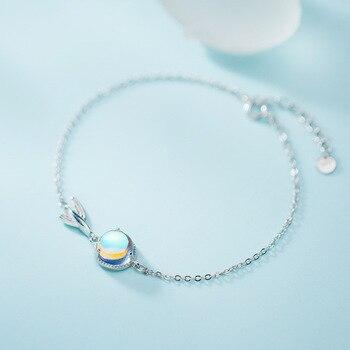 Pulsera con forma de cola de pez de cristal fino de espuma redonda de Plata de Ley 925, joyería fina de 20CM para mujer, señora, hija, regalo de fiesta