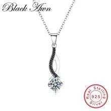 [BLACK AWN] Настоящее серебро 925 пробы, ювелирное ожерелье с подвеской, Трендовое черное ожерелье из шпинели для женщин P073