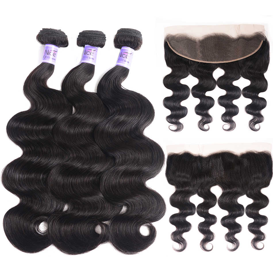 UNice Hair 8A Kysiss Series Body Wave Indian Hair Bundles With frontal 3 Bundles with Closure Human Virgin Hair Weave Bundles
