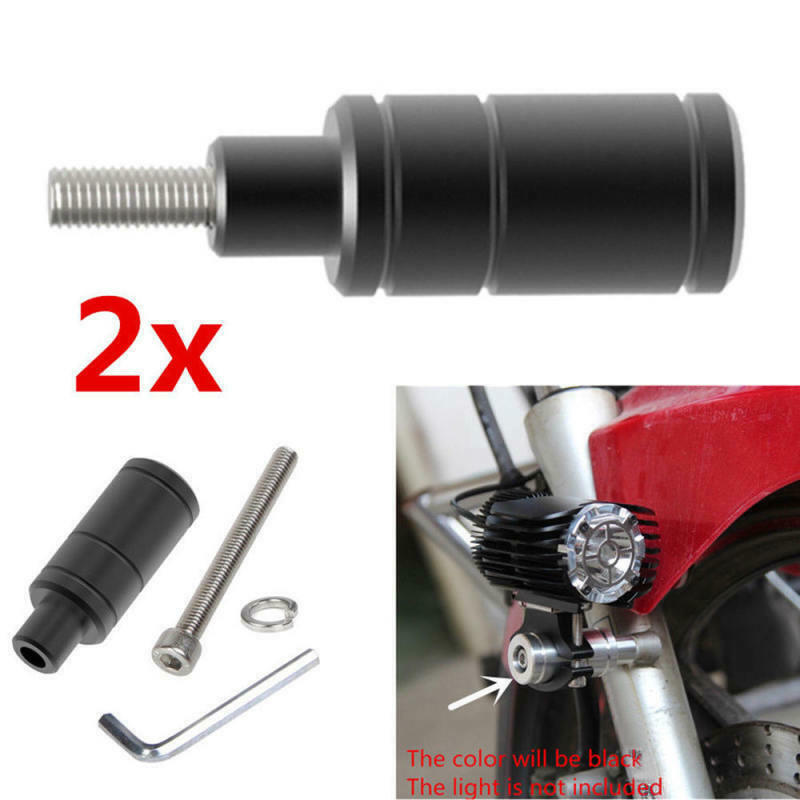 Adjustable 2 Sets Of M6 Bolt LED Light Mounting Brackets Post Clamp Support Black Aluminum Alloy CNC Motorcycle New