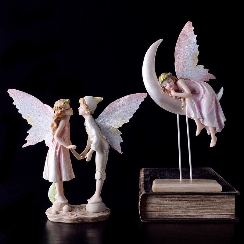 Moon flower fairy angel girl Creative Birthday Gifts resin Crafts fairy garden miniatures font b Kawai