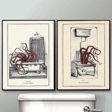 Vintage Octopus Print Funny Toilet Wall Art Cloakroom Poster Retro Gothic Steampunk Bathroom Wall Pictures Canvas Painting Decor(China)
