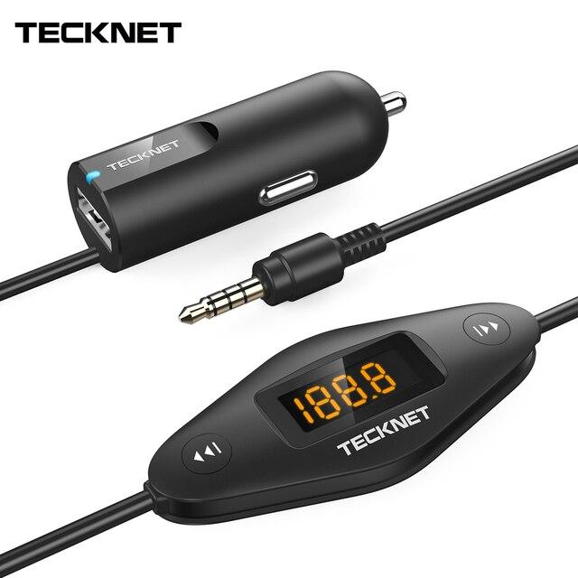 TeckNet Caricabatteria Da Auto Carica Rapida con 3.5mm Audio Martinetti in Auto Universale F27 Trasmettitore FM Radio Funzione per il iphone iPad MP3/4