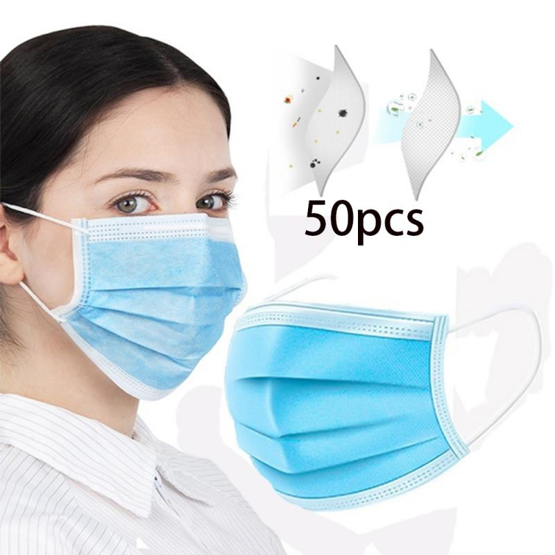 1/20/50PC Disposable Blue Nonwoven Mouth Face Mask Hypoallergenic Anti-Dust Anti-bacterial Earloop Mask Anti Dust Mask For Adult