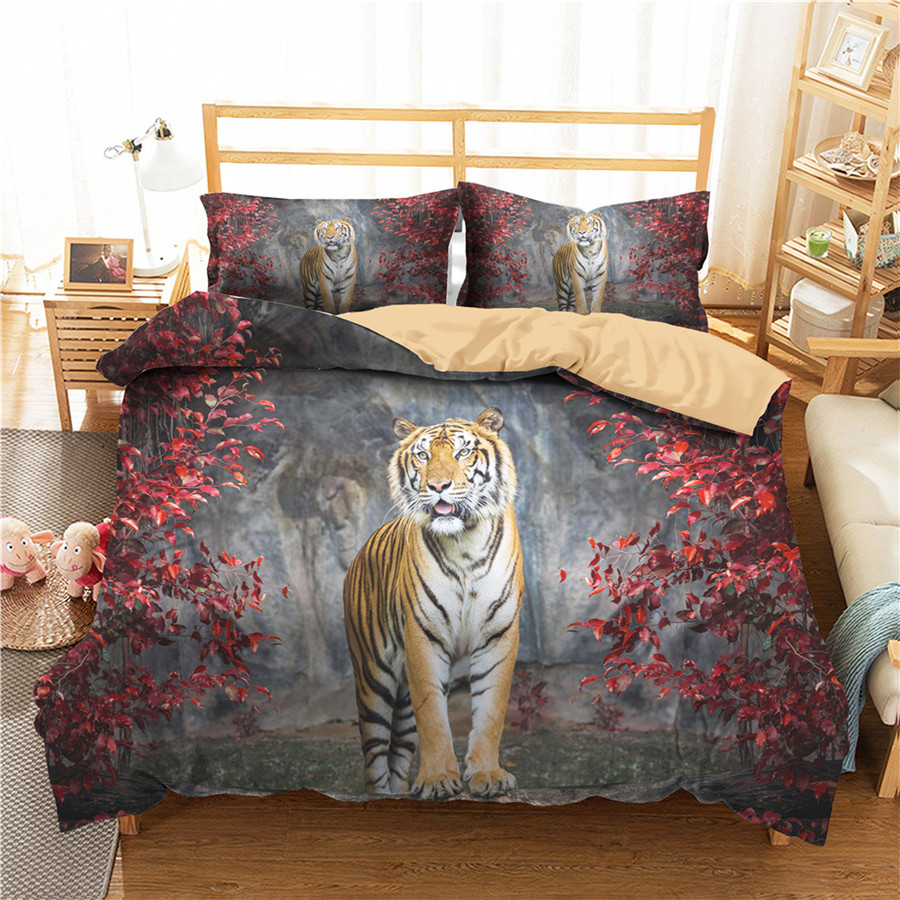 A Bedding Set 3D Printed Duvet Cover Bed Set Tiger Home Textiles For Adults Bedclothes With Pillowcase #LH19