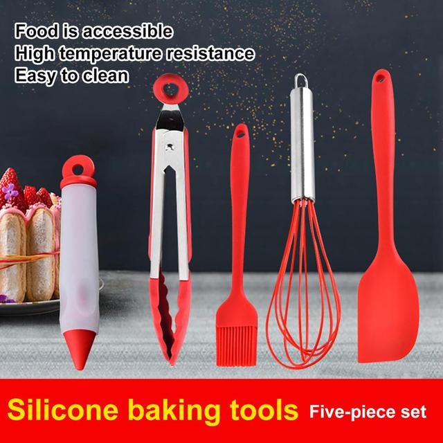 5 Silicone High Temperature Resistant Kitchenware Non-stick Pot Set Kitchen Tools Baking Utensils