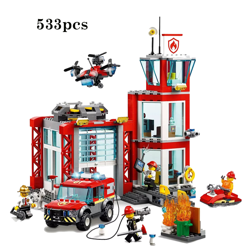New City Series Toys Bricks Fire Station Compatible Legoingly City 60215 Building Blocks Figure for Children Christmas Gift