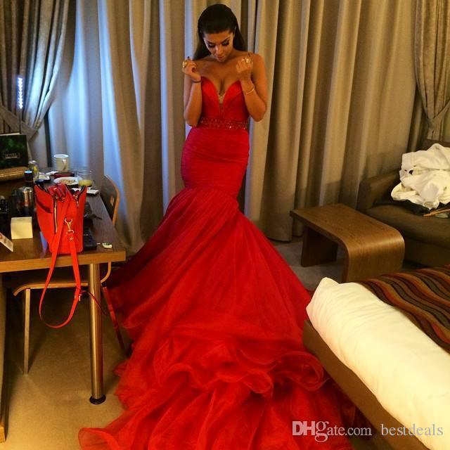 Sexy Sweetheart Beads Red Tulle Long Mermaid Evening Bridal Gown Custom Made 2018 Off The Shoulder Mother Of The Bride Dresses