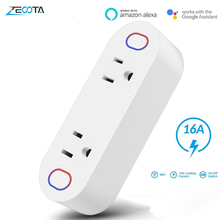 Clavijas de potencia inteligente Wifi, adaptadores, toma de corriente, enchufe de distribución de 15A, monitoreo de energía, funciona con Alexa IFTTT, Google Home