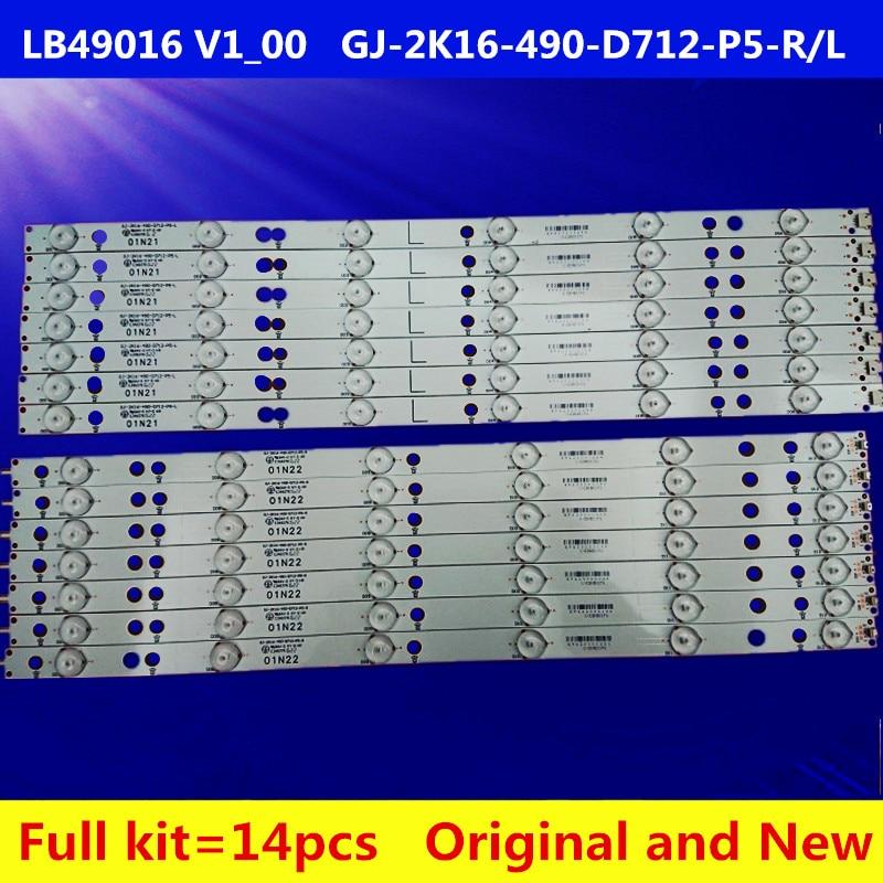 New Kit 14 PCS LED Backlight Strip For 49PUS6401 49PUH6101 GJ-2K16-490-D712-P5-L/R 01N21 01N22 TPT490U2 LB49016 V1_00