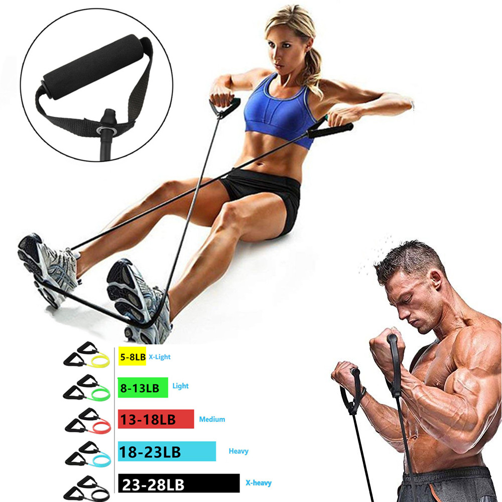 Fitness Resistance Bands with Handles Arms Legs Strength Workout Pull Push up