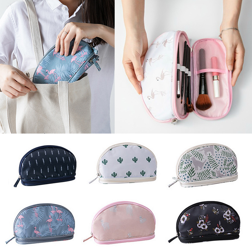 Litthing 2019 Portable Flamingo Cosmetic Bag Double Layer Travel Makeup Pouch Bags Circular Woman Make Up Bag Brush Organizer