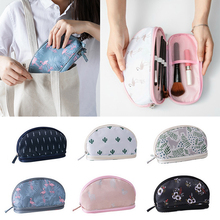 Litthing 2019 Portable Flamingo Cosmetic Bag Double Layer Travel Makeup Pouch Bags Circular Woman Make Up Brush Organizer