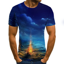 Summer Fashion Men's T-Shirt Starry Sky Pattern 3D Printing Men's T-Shirt Breathable Street Clothes Printing Casual T-Shirt Men