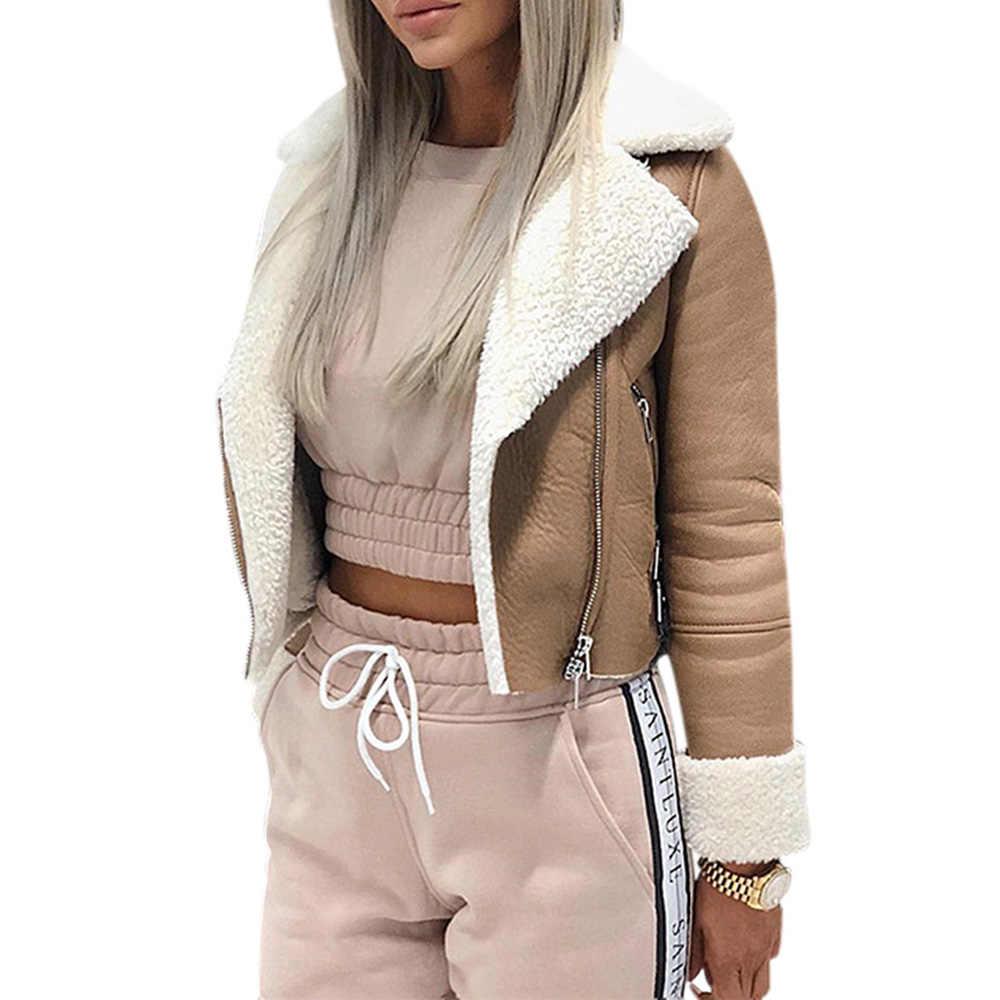 2019 秋冬ジャケット女性ラペルスエードレザークールパイロットジャケットフェイクラムウールオートバイジャケットチャケータ Mujer