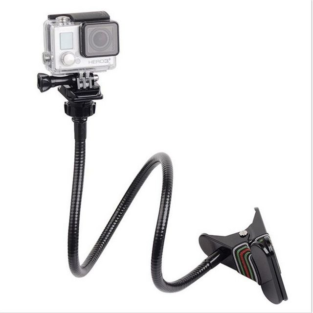 Ajustable Jaws Flex Clamp Mount 13.4 inches Gooseneck Extension for GoPro Hero 7/6/5/4/2/Session DJI OSMO Action Xiaomi Yi 4K