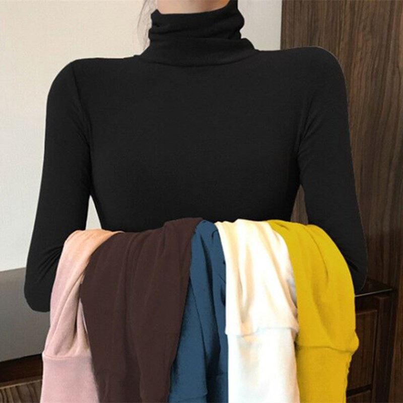 High Neck Bottoming Women's Long Sleeve Thin Fit With Knitting Shirt And Slim Pattern Solid Color Female Fashion Dressing