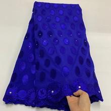 2020 couleur bleu coton dentelle tissu pour mariage GS1083