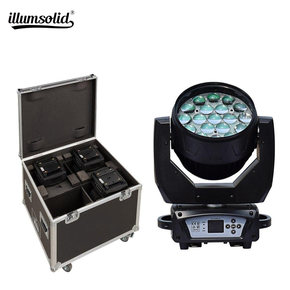 19x15w RGBW 4N1 Zoom DMX512 Led tête mobile avec 4in1 mouche effet de lavage professionnel éclairage 4 pièces/lot