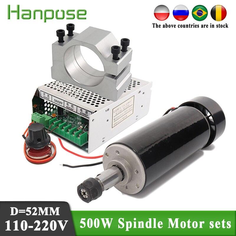 Патрон электродвигателя шпинделя с воздушным охлаждением 500 кВт, патрон ER11 CNC Вт, Шпиндельный двигатель постоянного тока + 52-миллиметровые з...