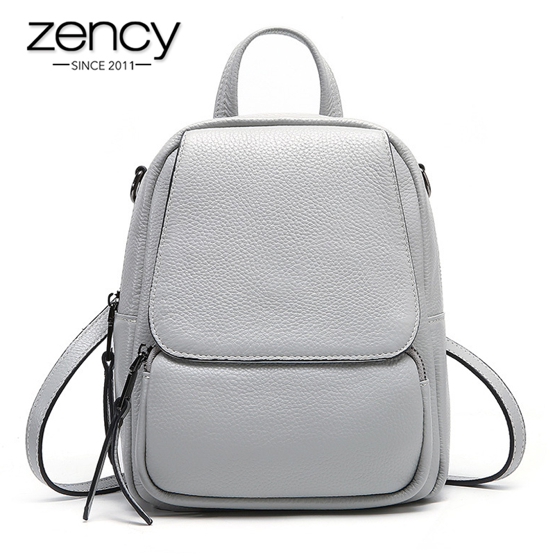 Zency 100% Genuine Leather Fashion Women Backpack Preppy Style Schoolbag For Teenager Girl Daily Casual Mother Knapsack Grey Bag