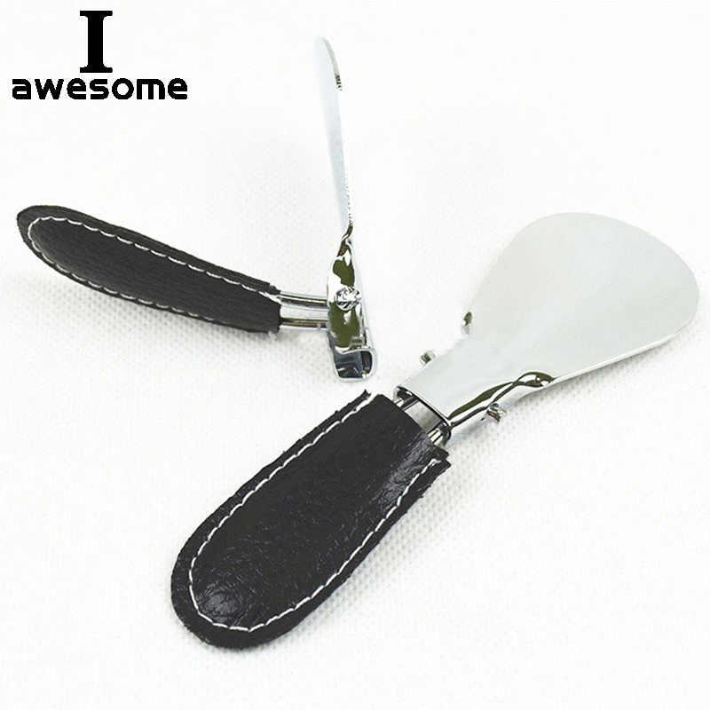 簡単キャリー折りたたみ靴べら金属耐久性のあるステンレススチールポータブルファッションミニ靴ホーンアクセサリー