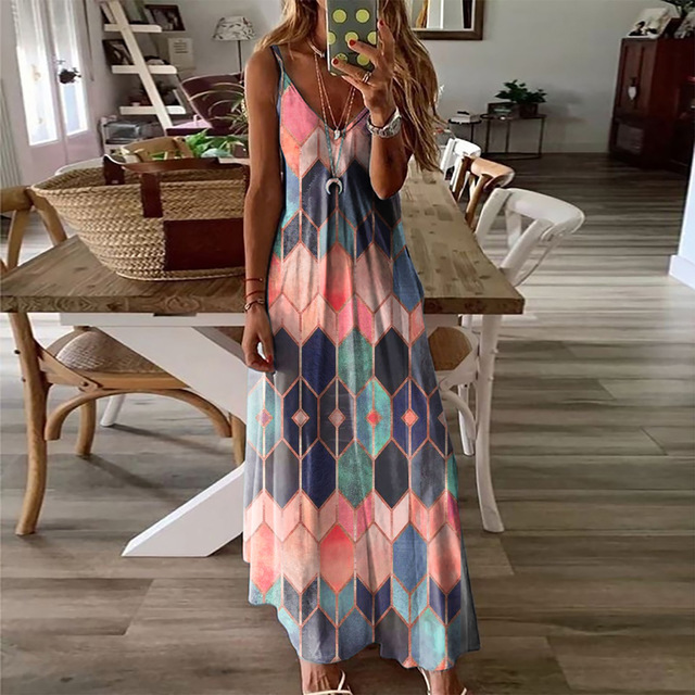 Women Dresses Ladies Sleeveless V-Neck Camisole A-Line Camisole Casual Printed Long Dress for Women 2021 Fashion Mujer Vestido 2