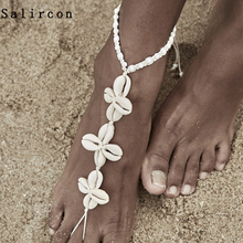 Salircon  Elegant Beach Shell Shap Anklets for Women Sandal Summer Bohemian Flower Seashell Anklet Bracelet Jewelry Gifts 2019