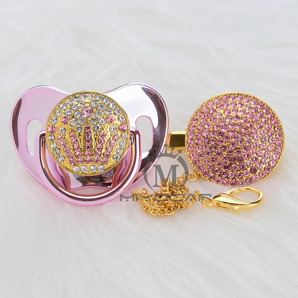 MIYOCAR Bling Luxurious Bling Pink Crown Rhinestone Baby Pacifier/ Nipples /Dummy /cocka /chupeta Baby Gift Babyshower APCG-P