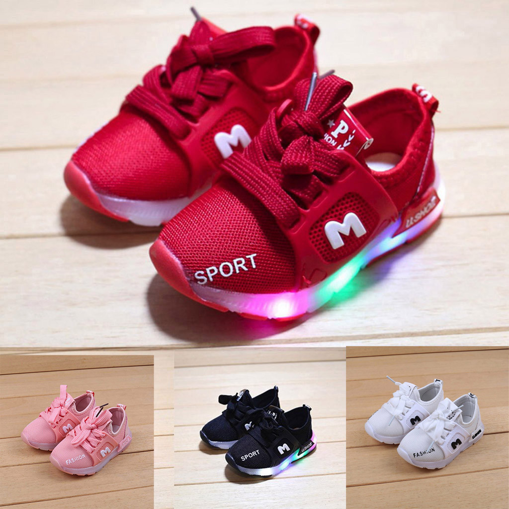 Children Baby Girls Boys Letter Crystal Led Light Luminous Running Sport Shoes Fashion Toddler Boy Tennis Shoes Dropshipping