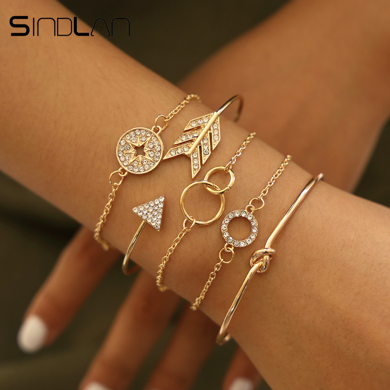 Sindlan 5PCs Crystal Geometric Bangles for Women Vintage Gold <font><b>Open</b></font> <font><b>Bracelets</b></font> Set Arrow Compass Boho <font><b>Bracelet</b></font> Wrist Chain Jewelry image