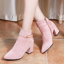 Women Pink Boots Winter High Heels New Fashion Black Flock Rivet Ladies Ankle Boots Pointed Toe Square Heel Zip Women Shoes недорого