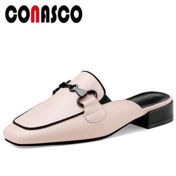 CONASCO Fashion Casual 2020 Summer Genuine Leather Women Sandals Mules Slippers Pumps Metal Decoration Thick Heels Shoes Woman