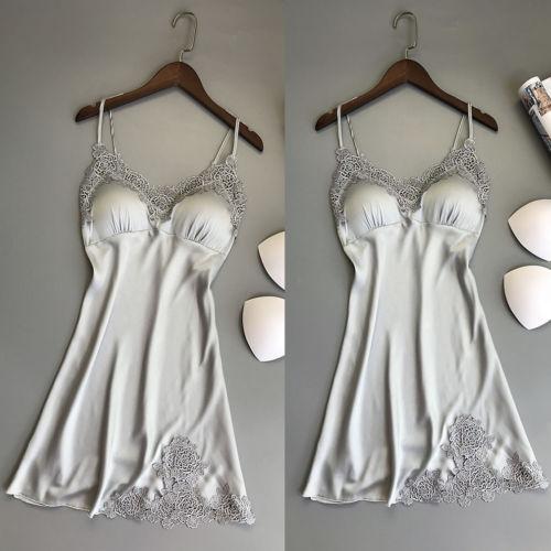 Hot Sale V Neck Nightgowns Women Summer Sexy Lace Lingerie Satin Sleep Dress Fashion Casual Nightwear Babydoll Sleepwear