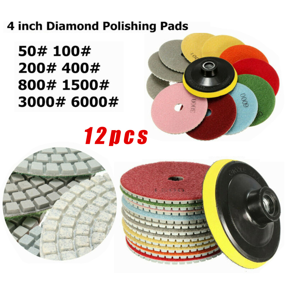 12Pcs Polishing Pads Wet/Dry Grinding Wheel Marble Granite 4 Inch Diamond