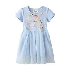 Jumping Meters-vestidos de encaje para niñas, trajes de moda para niñas, disfraz de unicornio con abalorios, vestidos de boda para niños y bebés
