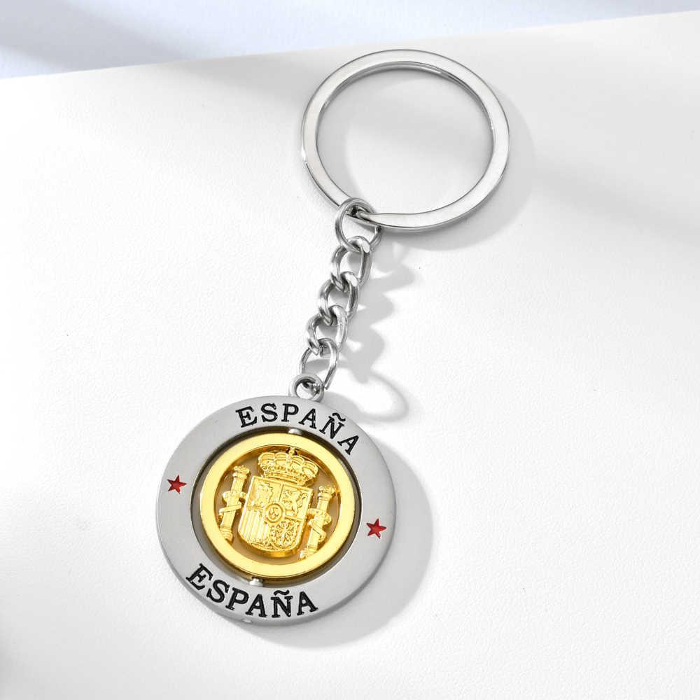 Vicney الفضة ESPANA Letetr مفتاح سلسلة الإسبانية الوطنية شعار دلاية مفاتيح من سبائك الزنك اسبانيا تذكارية كيرينغ حلقة رئيسية للرجال صديق