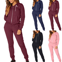 Vrouwen Sporting Trainingspak Gym Running Toevallige Set Winter Rits Jogging Sportkleding Vrouwelijke Hooded Sweat Casual Loose Fit Suits(China)