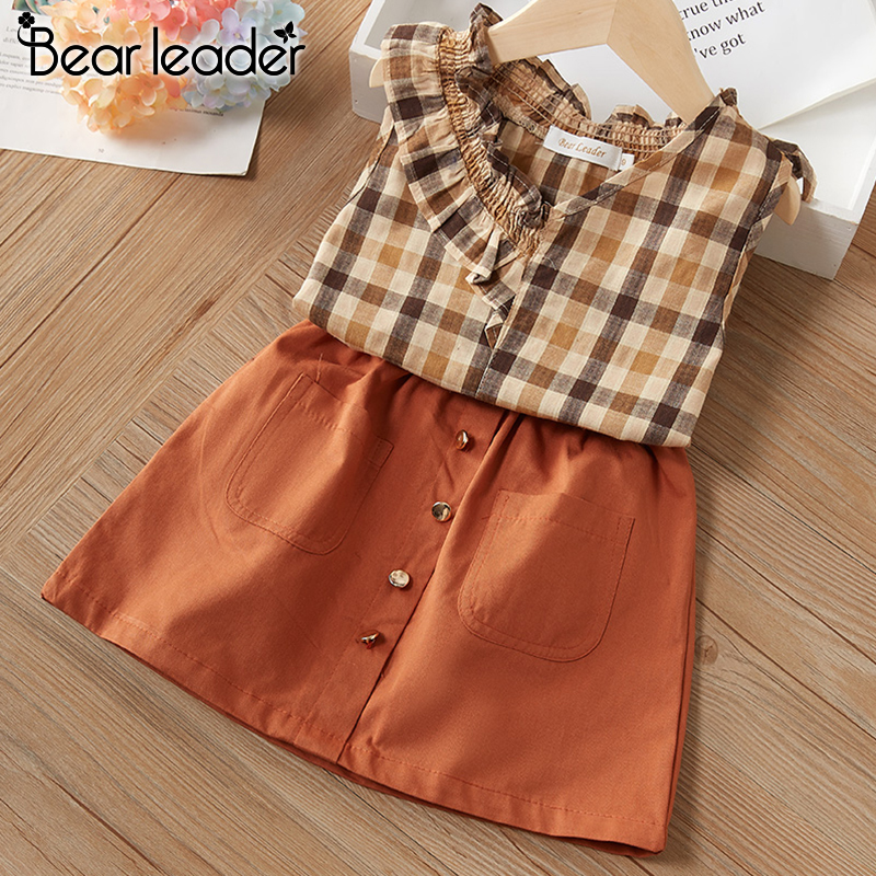 Bear Leader Girl Kids Clothing Sets New Summer Girl Plaid Outfits Casual Vest And Pants 2Pcs Cool Kid Clothes Girl Clothing Suit
