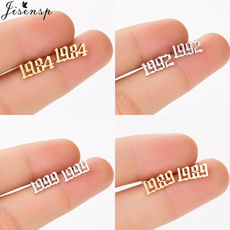 Jisensp Personalized Year Number Earrings Stud For Women Men Stainless Steel Jewelry Custom Year 1980 1994 Brincos Birthday Gift