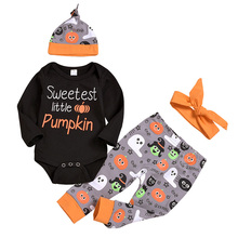 AmzBarley 4pcs Newborn Halloween clothes set Baby Girls long sleeve Romper+ pumpkin Ghost Pants+Hat+headband Autumn clothing Set