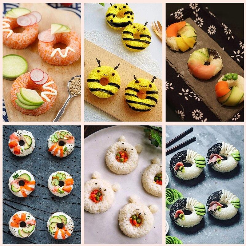 Пончик Форма Onigiri форма Пластик антипригарным набор для приготовления суши DIY легко для рисовых шариков Пресс пресс-форм с морскими водорослями, Набор для изготовления Кухня аксессуары-4