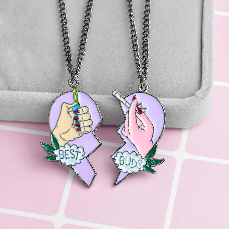 2 Pcs/Set Best Friends Necklace Women BEST BUDS Cigarettes and Smoke Heart Puzzle Pendant Necklace Couple Chain Jewelry Gifts image