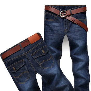 Men s Fashion Business Jeans Straight Tube Baggy Moto Slim Fit Denim Pants Distressed Trousers Winter